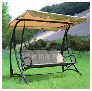 New Outdoor 3 Seats Steel Swing Chair with Hanging Canopy Roof Bed