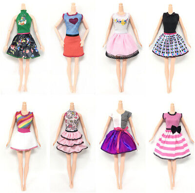 6pcs/Lot Beautiful Handmade Party Clothes Fashion Dress for Barbie Doll Decor BB