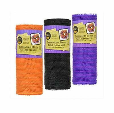 6x5yd Fall Metallic Halloween Deco Mesh Wrap Roll Floral Craft Wreath Ribbon* - Halloween Deco