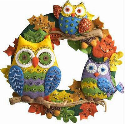 Bucilla Felt Kit, Owl Wreath, 17in embroidery, leaves, Fall, sewing - Bucilla Halloween Wreath