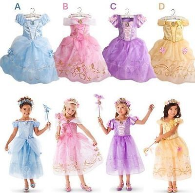 Kid Girls Aurora Sandy Rapunzel Belle Princess Party Fancy Dress Up Costume gift
