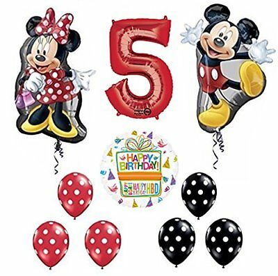 Mickey and Minnie Mouse Full Body 5th Birthday Supershape Balloon - Mickey And Minnie Balloons