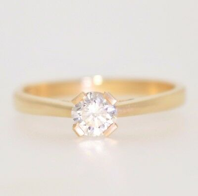 EGL Certified 0.39ct Yellow Gold Round Cut Solitaire Diamond Engagement Ring Si1