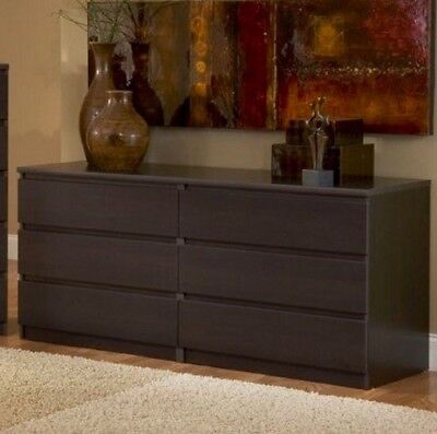 Dresser 6 Drawer Double Chest of Drawers Bedroom Furniture Clothes Storage (Double Chest Of Drawers)