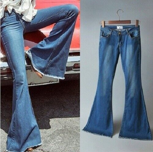 Women Ladies Skinny Flare Denim Jeans Bell Bottom Stretch Pa