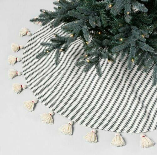 NWT Hearth and Hand with Magnolia 52″ Round Tree Skirt – Cream & Green Stripe Holiday & Seasonal Décor