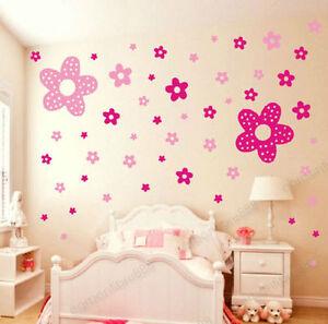 86 pink princess flowers girls kids bedroom wall stickers nursery vinyl art