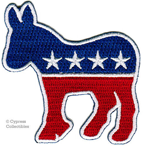 DEMOCRATIC PARTY DONKEY EMBROIDERED PATCH iron-on DEMOCRAT SYMBOL POLITICS new