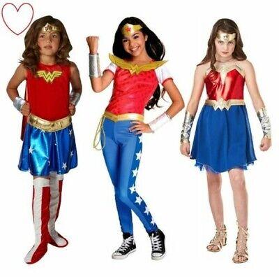 Mädchen Kinder Wonder Woman Maskenkostüm Deluxe Hosen Buch Woche Tag (Deluxe Wonder Woman Kinder Kostüm)