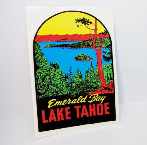Lake Tahoe Travel DECAL / Vintage Style Vinyl STICKER, Emerald Bay California