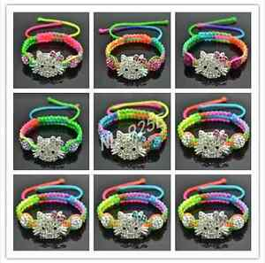 WHOLESALE-Little-Girls-MULTI-STRING-SHAMBALLA-HELLO-KITTY-STYLE-BRACELETS