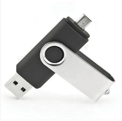 32GB MICRO USB DUAL BLACK SWIVEL MEMORY THUMB PEN STICK FLAS