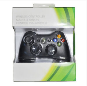 Wireless Controller Glossy Black For Microsoft Xbox 360 With Package BS
