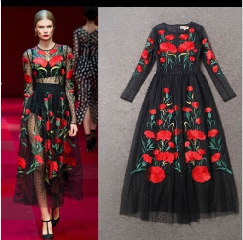 Купить Unbranded - Sexy Women Long Sleeve Embroidered Flowers Vintage Tulle Long Dress Formal Y106