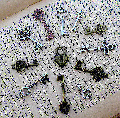 Skeleton Key Lock Vintage Silver 11 Charm Pendant Steampunk Jewelry Gift Lot NR!