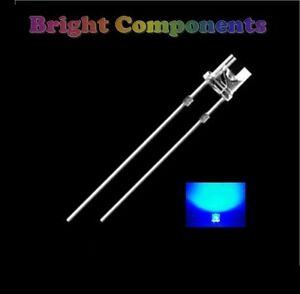 50-X-Led-Blu-5mm-FLAT-TOP-GRANDANGOLO-ultra-luminosa-9000mcd-Nuovo-UK