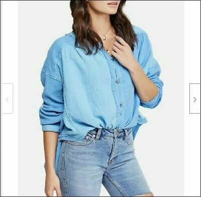 Free People Womens  Mountains OB944756 Top Relaxed Carolina Blue L