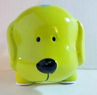 LIME GREEN MINI CERAMIC DOG PIGGY BANK LARGE SLOT COINS BILLS MONEY SAVE   - Large Ceramic Piggy Bank