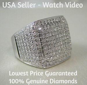 1.45 CARAT MENS WHITE GOLD FINISH PAVE DIAMOND ENGAGEMENT WEDDING PINKY RING
