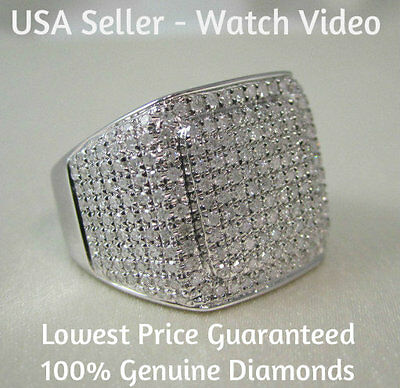 1.50 CARAT MEN WHITE GOLD FINISH REAL DIAMOND ENGAGEMENT WEDDING PINKY RING BAND