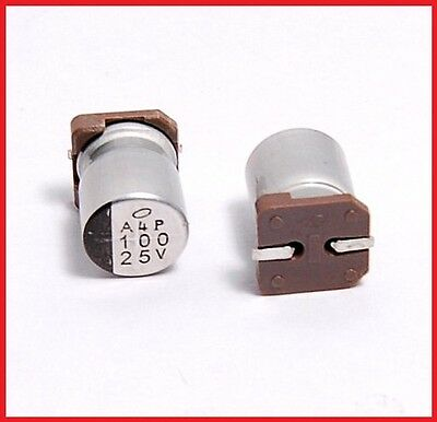 (10pcs) 100uf 25v Nichicon Smd Aluminum Electrolytic Capacitors 8x10mm 25v100uf