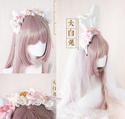 Lolita Vintage Cute KC Rabbit Bunny Cat Veil Ears Headband Hair Band Cosplay - Red Bunny Ears