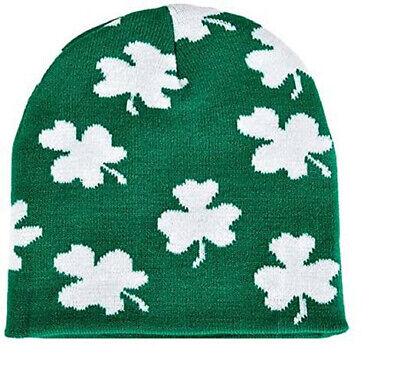Irish Shamrock Beanie Hat - St Patrick Day Clover Ski Cap Hat FREE SHIPPING