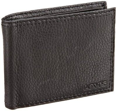 LEVI'S LEATHER WALLET IN METAL BOX STY# 31LV1344 BLACK SLIM BIFOLD LEVIS STRAUSS ()