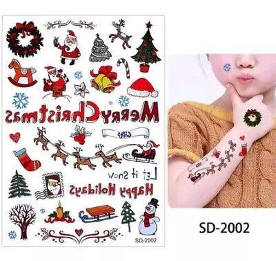 Kids Cartoon Christmas Temporary Tattoos Fun Children's Stocking fillers Art 🎁 - Kids Christmas Tattoos