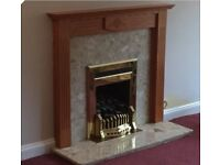 Fire Surround with Gas Fire - Wood and Marble Surround Fire - British Gas (Valour Dream)
