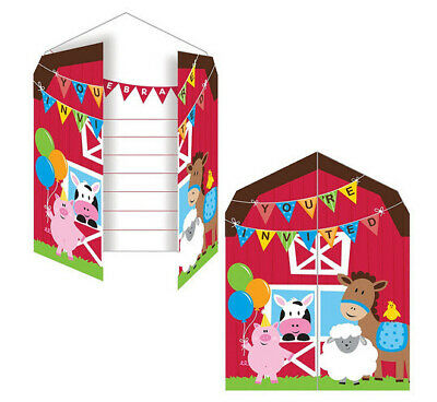 Horse Party Invitations (FARM BIRTHDAY party INVITATIONS barn animals cow pig horse 8 invites)