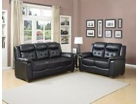 ***HUGE SALE***BRAND NEW STYLISH ITALIAN DESIGN PARIS 3-2 SOFAS (REAL LEATHER) IN BLACK OR BROWN