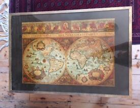 Vintage map of the world glass coffee table, brass bound