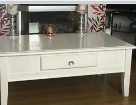 White glossed coffee table