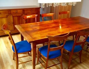 Cherry wood dining room set - table with 8 chairs + buffet