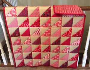 CRIB QUILT - RED & TAN TRIANGLES