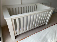 John Lewis 'Squares' wooden baby bed cot + like-new foam mattress - excellent quality!
