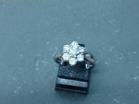 18ct White Gold Diamond Cluster Ring - size 'M'