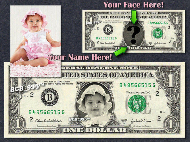 REAL $1 Dollar with Your FACE & NAME Picture Custom Personalized Cash Money Bill
