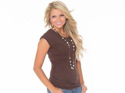 Basic MODBOD Women T-Shirt Scoop Neck Cap Sleeve Top 90% Cotton NWT USA