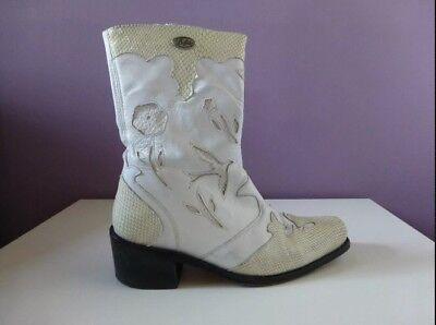 Weiße Leder Western Cowboy Stiefel (Damen Cowboystiefel/Westernstiefel*Stiefeletten*Buffalo*weiß*Leder*Gr. 38*top)