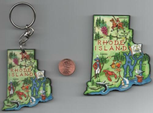 RHODE ISLAND   ARTWOOD  STATE MAP MAGNET and FREE RHODE ISLAND ARTWOOD KEYCHAIN