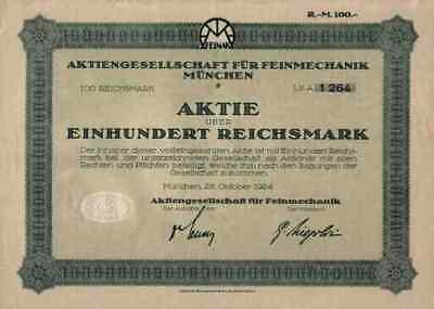 Feinmechanik FEINAK 1924 Kinobau Kamera München Bayreuth 100 Mark