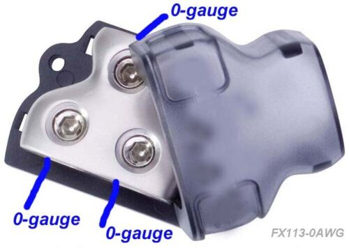 Car Audio Amp Wire Install 3-Way Distribution Block 1 0 Gauge In, 2 0 AWG Out,