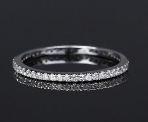 Pave-Diamond-Solid-14K-White-Gold-Engagement-Wedding-Eternity-Matching-Band-Ring