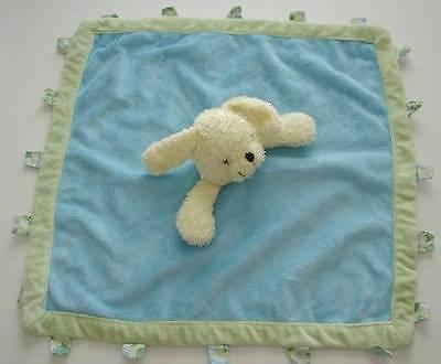 KELLY B RIGHTSELL Designs Blue Green Plush Puppy Dog Tag Lovey Blanket