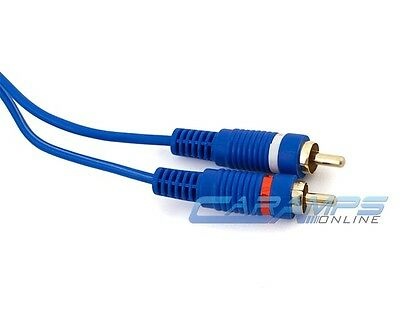 NEW SOUNDQUEST 20 FOOT 2 CH BLUE CAR/HOME AMP RCA CABLES INTERCONNECT WIRES 20FT