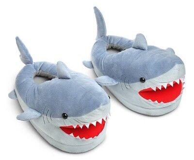 Adult Size Shark Plush Slippers For Grown Ups Grownups Comfortable Soft Fun New - Shark Slippers Adult