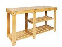 Bamboo 2-tier shoe rack bench