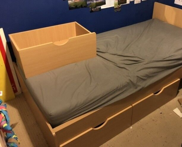 Wooden single bed frame and drawers